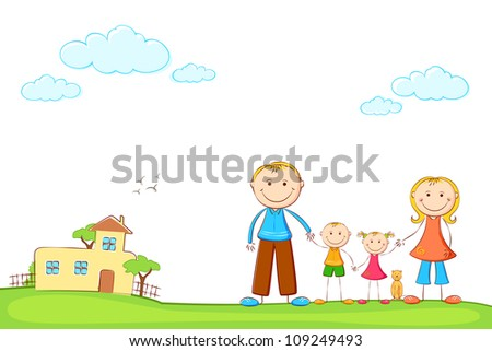 illustration of happy family standing in front of sweet home - stock vector