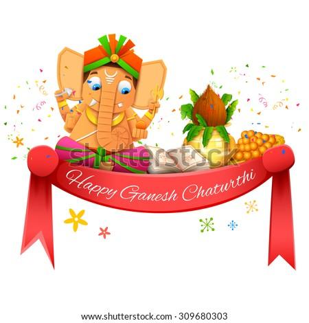 illustration of Happy Ganesh Chaturthi - stock vector