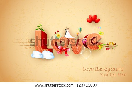 illustration of happy valentine's background with love text - stock vector