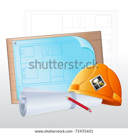 illustration of hard hat with blue print and pencil - stock vector