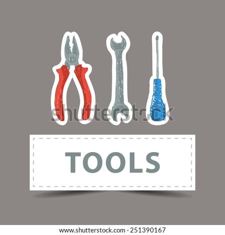 Illustration of hardware - hand drawn tools stickers - stock vector