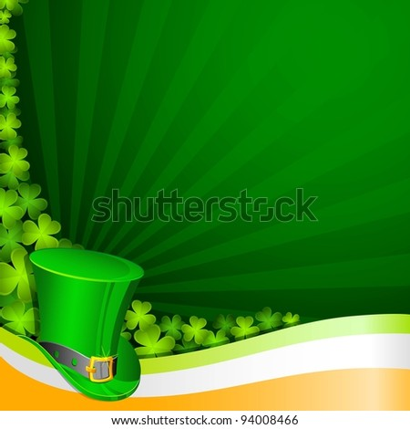 illustration of hat on Saint Patrick background - stock vector