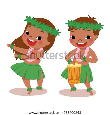 illustration of hawaiian boy playing drum and hawaiian girl hula dancing - stock vector