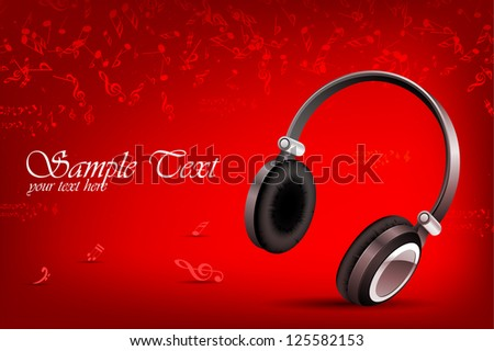 illustration of headphone in abstract musical background with notes - stock vector