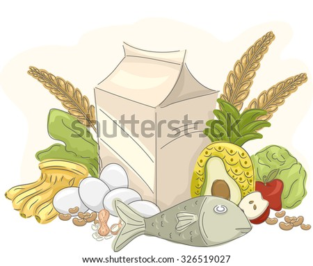 Illustration of Healthy Food That are Commonly Eaten - stock vector