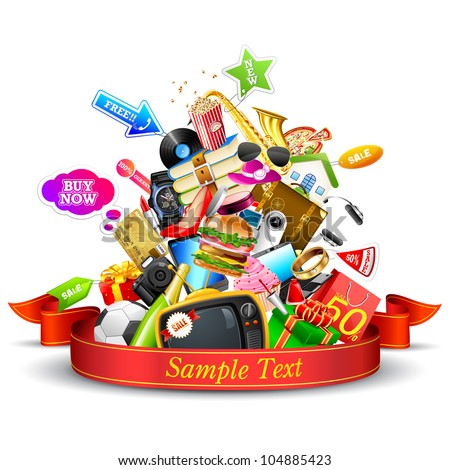 illustration of heap of product with ribbon showing sale festival - stock vector