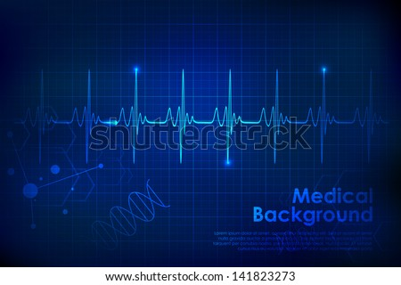 illustration of heart beats on Healthcare and Medical background - stock vector