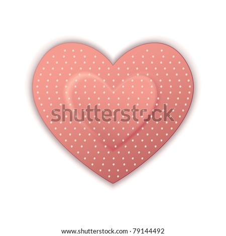 illustration of heart shape bandage on white background - stock vector