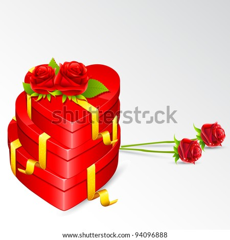 illustration of heart shape gift box with rose on love card - stock vector