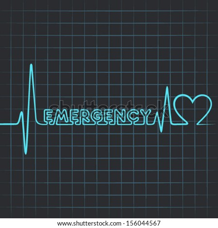 Illustration of heartbeat make emergency word and heart symbol - stock vector
