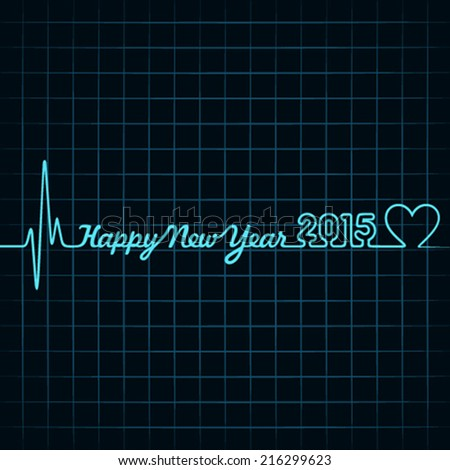 Illustration of heartbeat make happy new year text and heart symbol  - stock vector