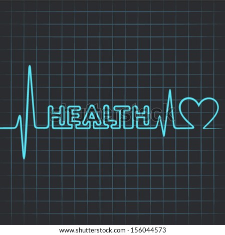 Illustration of heartbeat make health word and heart symbol - stock vector