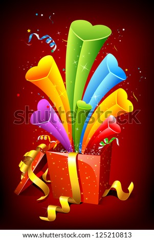 illustration of hearts popping out from gift box on abstract background - stock vector
