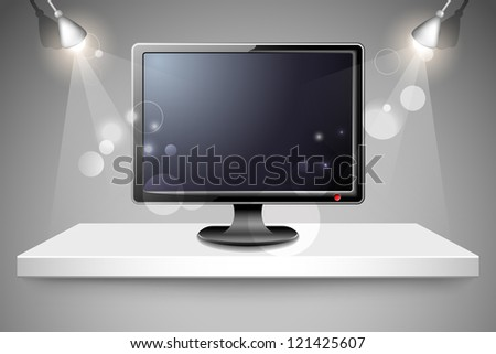 illustration of high definition television on shelf - stock vector