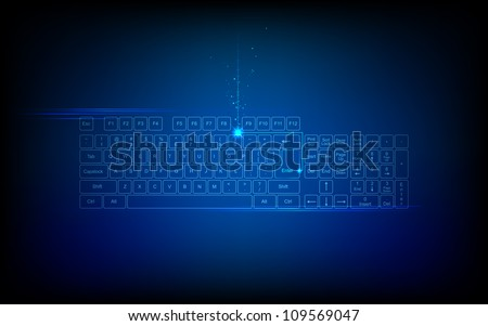 illustration of high tech keyboard with binary number - stock vector