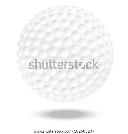 illustration of highly rendered golf ball, isolated in white background. - stock vector