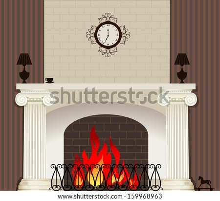 Illustration of home fireplace - stock vector