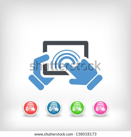 Illustration of horizontal tablet touch - stock vector