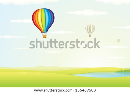 Illustration of Hot Air Balloon over Green Fields against Clear Sky. Vector - stock vector