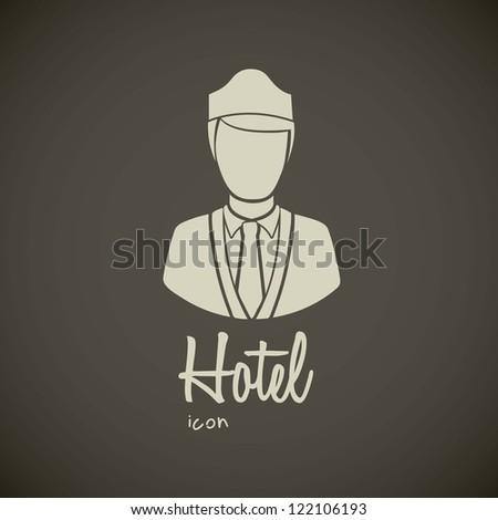 illustration of hotel icons, bellboy illustration, vector illustration - stock vector