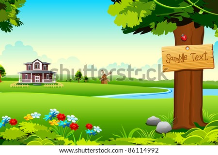 illustration of house in side of lake in green meadow - stock vector