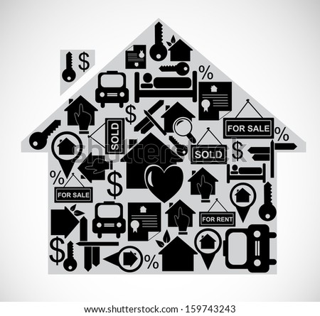 Illustration of house made of real estate icons. VECTOR illustration. - stock vector