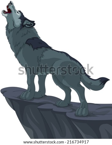 Illustration of howling wolf that stands on cliff - stock vector