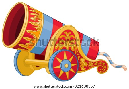 Illustration of huge cannon - stock vector