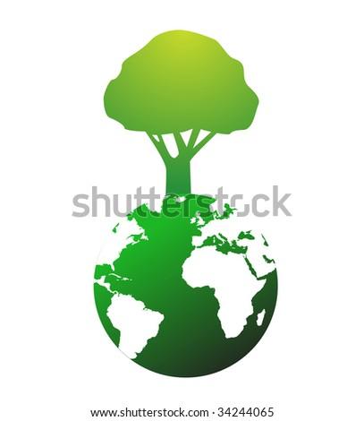 Illustration of huge tree on world globe - stock vector