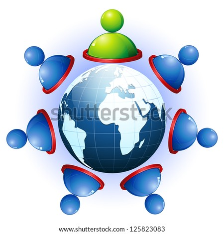 illustration of human connecting with each other showing networking - stock vector