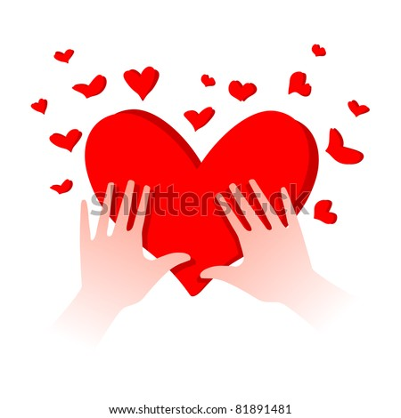 illustration of human hands with heart in it - stock vector
