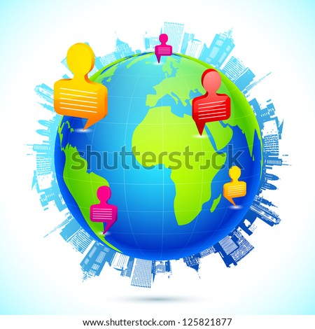 illustration of human icon with speech bubble forming human networking - stock vector