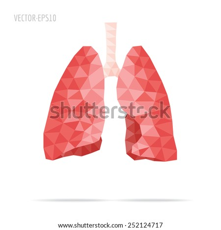 Illustration of human lungs with faceted low-poly geometry effect, vector - stock vector