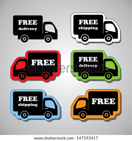 Illustration of Icons Shipments and Free Delivery, Vector  - stock vector