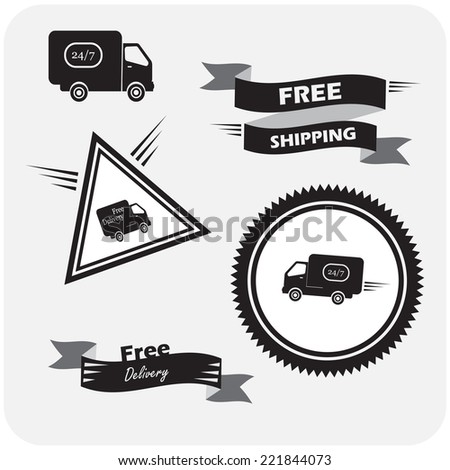 illustration of icons shipments and free delivery. vector illustration - stock vector