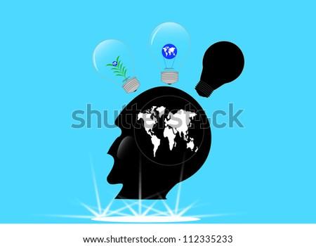 illustration of idea  in  human head - stock vector