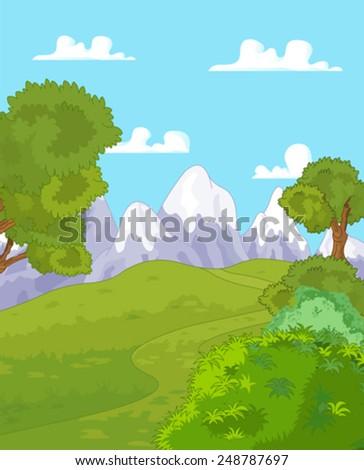 Illustration of idyllic mountain landscape - stock vector