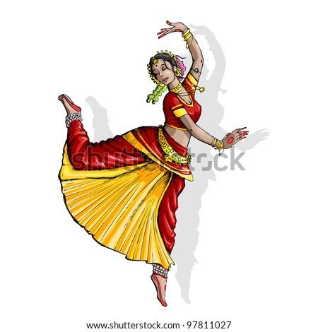 illustration of Indian classical dancer performing bharatnatyam    Bharatanatyam Cliparts