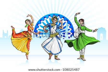 illustration of Indian classical dancer performing in tricolor costume - stock vector