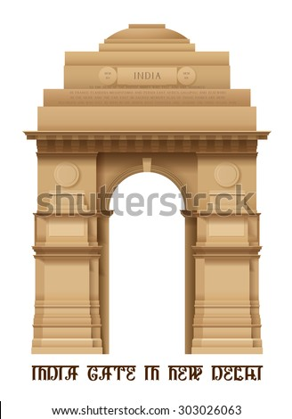 Illustration of Indian Gate in Delhi isolated on white, EPS 10 contains transparency. - stock vector