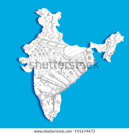 illustration of Indian map with culture doodle - stock vector