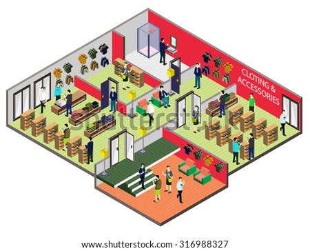 illustration of info graphic interior  room concept in isometric graphic - stock vector