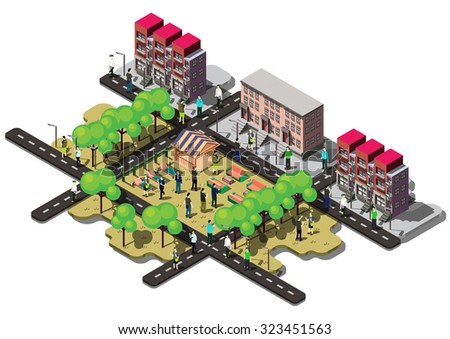 illustration of info graphic urban city concept in isometric graphic - stock vector