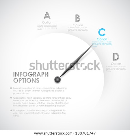 illustration of infographics options with pointer for presentation and promotion - stock vector