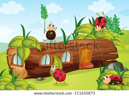 illustration of insects and house in a beautiful nature - stock vector