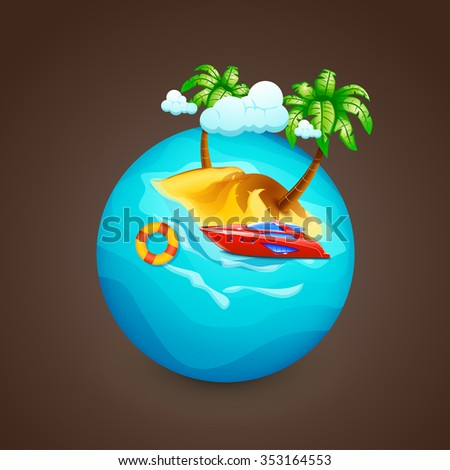 illustration of island with couds and red boat on water sphere - stock vector