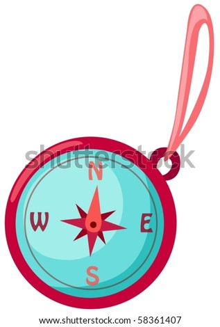 illustration of isolated a compass on white background - stock vector