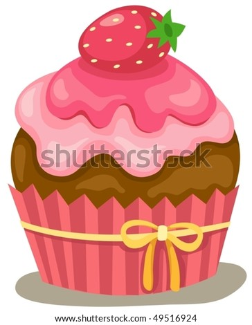 illustration of isolated a cupcake on white background - stock vector