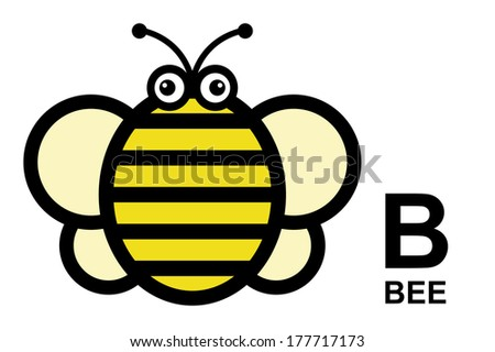 illustration of isolated animal alphabet. B is for bee. Vector illustration.  - stock vector