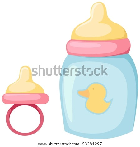 illustration of isolated baby bottle and pacifier on white - stock vector